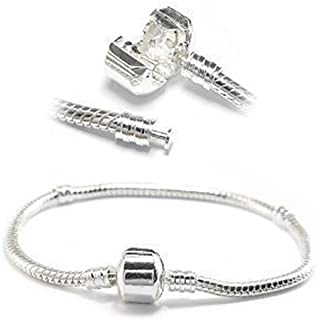 Silver Tone Snake Chain Classic Bead Barrel Clasp Bracelet for Beads Charms.