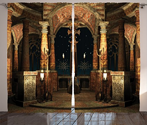 """Ambesonne Gothic Curtains, Dark Mystic Hall with Pillars and Dome Shrine Building Illustration, Living Room Bedroom Window Drapes 2 Panel Set, 108"""" X 84"""", Ivory Brown"""