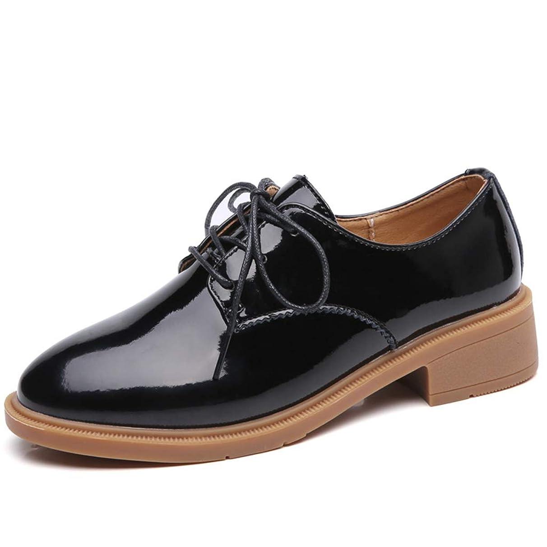 噛む色合い維持する[SENNIAN] 革靴 レディース レースアップ 通勤 通学 オックスフォード マーチンシューズ ローカット エンジニアブーツ カジュアルシューズ ブラック ハンサムシューズ 軽量カジュアル 美脚