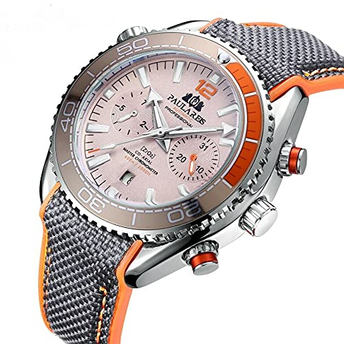 PAULAREIS - Reloj de pulsera para hombre, 45 mm, automático, mecánico, color gris