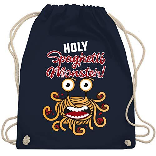 Shirtracer Statement - Holy Spaghetti Monster! - Unisize - Navy Blau - Spruch - WM110 - Turnbeutel und Stoffbeutel aus Baumwolle