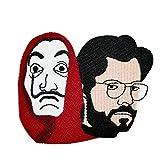 Parche bordado para planchar o coser, diseño de máscara de Dalí y el profesor Meme Hat