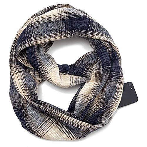 Schal Unisex Style Winter Cabrio Schal Für Männer Frauen Infinity Schal Mit Reißverschlusstasche Design Soft Print Ring