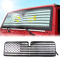 in budget affordable RT-TCZ Windshield Flag Sun Visor Heat Shield Mat for Jeep Wrangler Bicon …