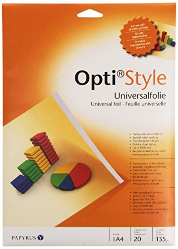 inapa 88082000 bedruckbare Overhead-Folie Opti-Style für Präsentationen, DIN-A4, 20 Folien/Packung, transparent