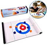Tabletop Curling Game-Compact Curling Board Game,Mini Table Games for Family, School, Office or Travel Play