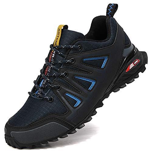 ASTERO Zapatillas de Deportes Hombre Running Zapatos para Correr Gimnasio Calzado Deportivos Ligero Sneakers Transpirables Casual Montaña Calzado Talla 41-46 (Azul, Numeric_42)
