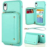 LAMEEKU Wallet Case for iPhone XR, Zipper Leather Kickstand Case with Credit Card Holder Slot Wrist Strap, Anti-Scratch Shock Protective Cover Case for iPhone XR 6.1'' (2018) - Mint Green