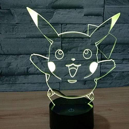 GYBYB 3D LED Nachtlicht Pikachu Peacock Table Decor Nachtlampe @ Raise 2 Kopf Pikachu