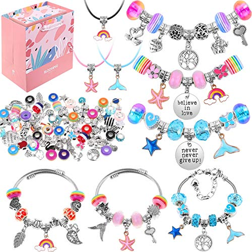 87 Pcs Bracelet Making Kit with Gift Box, Acejoz DIY Charm Beads for Bracelets Jewelry Making Kit, Jewelry Making Supplies for Teen Girls 7-12.