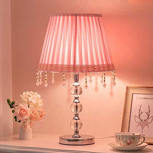 Nachttischlampe Nachtlicht für Schlafzimmer Dimmbarer Augenschutz Lernkristall kleine Tischlampe, [groß] rosa hängende Perle Knopfschalter