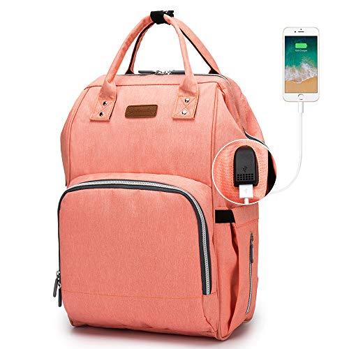 Baby Wickelrucksack, Ramotto Multifunktionale Wasserdichte Wickeltasche mit USB-Kabel Kinderwagen-haken Isolierte Tasche für Unterwegs, Große Kapazität (Orange)