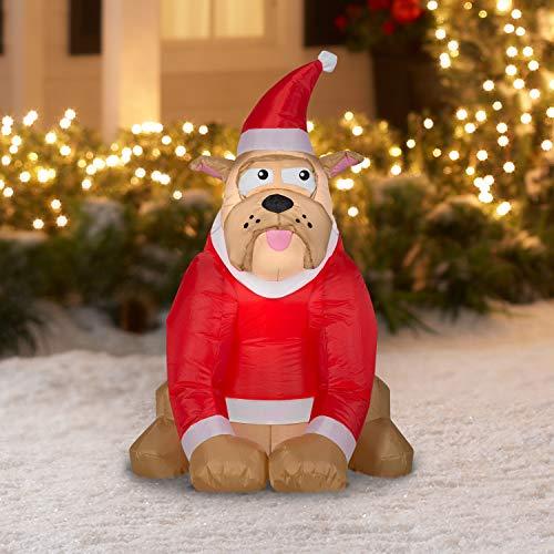 holidaytime English Bulldog in Santa Hat Inflatable AIrblown 3.5
