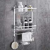 Gricol Estantería de ducha sin taladrar, de aluminio, rectangular, inoxidable, autoadhesiva, con esponja, jabonera para baño y cocina, 2 unidades (plata)