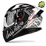 Full Face Motorcycle Helmet with Dual Rear Wing, Hax Motorbike Street Bike Helmet with Pinlock Ready Plastic Nails for Adult,DOT Approved(Impulse Devour Black,M)