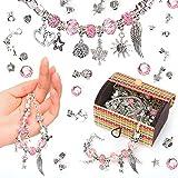 Sinwind Adventskalender zum Geschenk Charm Armband Kit DIY, Basteln Mädchen Personalisierte Geschenkset mit Silber Kette für schmuck armbänder bastelset, Armband Mädchen Geschenk 8-12 Jahre (Rosa)
