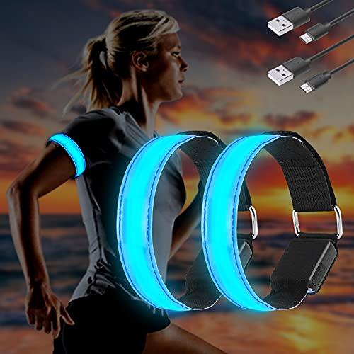 Molbory LED Armband USB, 2 Stück LED Reflective Band leuchtarmband laufarmband Lichtband Kinder leuchtbänder Reflektorband Licht für Joggen Laufen Running Sports