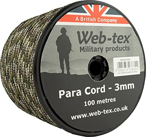 Web-Tex Paracord 3mm 100 METROS ROLLO Basha TIENDA Vivac acampada airsoft - Vcam