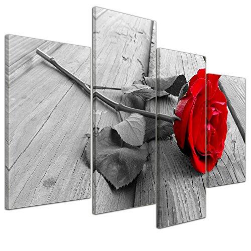 Bilderdepot24 Bild auf Leinwand | Rose Steg in 120x80 cm 4 TLG. als Wandbild XXL | Wand-deko Dekoration Wohnung modern Bilder | 16098