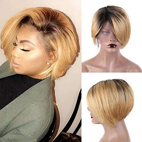 TOOCCI Lace Frontal Wigs Cap Perruque Courte en Cheveux Humains Coupe Pixie Cut Brésilienne Cheveux Latérales Coupée Pour Les Femmes Humains Gratuite Côté Frange Pour Une Partie (OT27)