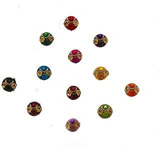 Anuradha Art Multi Colour Wonderful Round Shape Bindis For Ladies Stone Designer