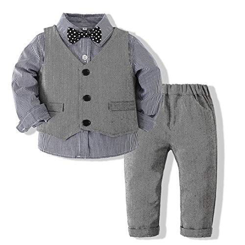 Xiangwu Textitle Baby Boy Gentleman Set with Dress Shirt+Bow Tie+Vest and Pants 3PC Set, Gray Plaid, 12-18 Months