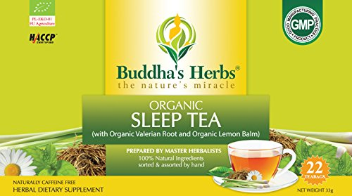 Buddha's Herbs Premium Organic Sleep and Relaxation tea with Valerian Root , Lemon Balm and Chamomile - 44 Tea bags (Pack of 2)