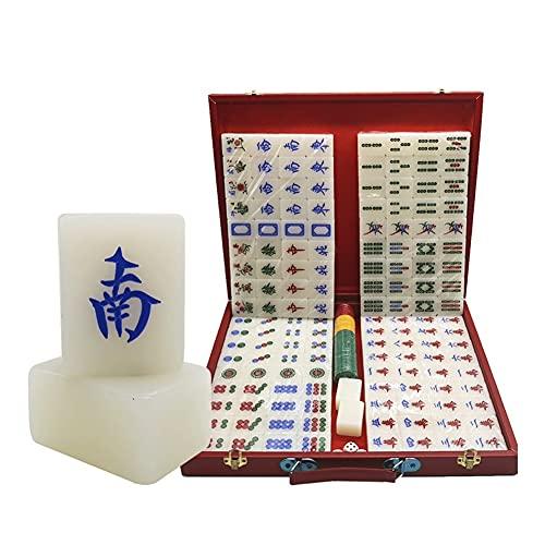 LYLY Juego de juego de acrílico chino Mahjong, juego de Mah-Jongg con funda de transporte, 3 dados para juego de estilo chino
