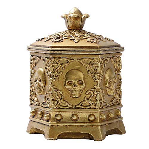 wukongsun Caja de joyería con forma de calavera hexagonal, pequeña y vintage, caja de joyería de cabeza de esqueleto dorado, organizador, recuerdo, caja de regalo, caja de joyería, 10 x 10 x 12,5 cm