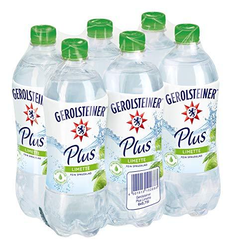 Gerolsteiner Plus Limette / Natürliches Mineralwasser mit sprudelnder Kohlensäure, kombiniert mit fruchtigem Limetten Aroma / 6 x 0,75 L PET Einweg Flaschen