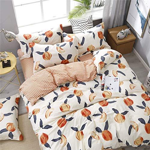 Cute Duvet Cover Set Bedding Set 3 Piece, Morbuy Peach Fruit Pattern Duvet Cover Set for Single Double King Bed with 1 x Quilt Case 2 Pillowcases (Double-200x200cm,peach)