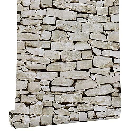 BROOE Papel Tapiz de pelar y Pegar con patrón de Piedra, Renovación de decoración autoadhesiva Impermeable 3D (0.45X6m)