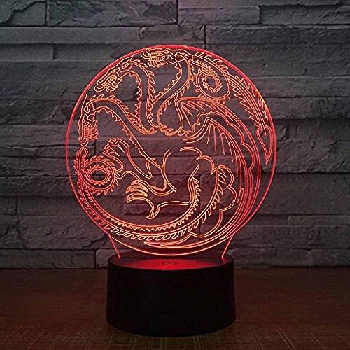 Kleurrijk Nachtlampje, Opladen Via Usb Creativiteit Led 3D-Illusie-Effect Dimensionale Dragon-Tafellamp (Acrylpaneel + Abs-Voet)