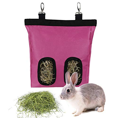 GeerDuo Rabbit Hay Feeder Bag, Guinea Pig Hay Feeder Storage ,Hanging Feeding Hay for Small Animals Larege Size 600D Oxford Cloth Fabric (M, Pink)