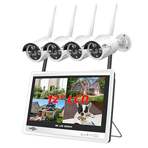 BAO 8CH sistema inalámbrico 1536 p 1080 p NVR wifi al aire libre 3MP AI cámara IP sistema de seguridad video vigilancia LCD monitor kit 12inchlcdmonitor