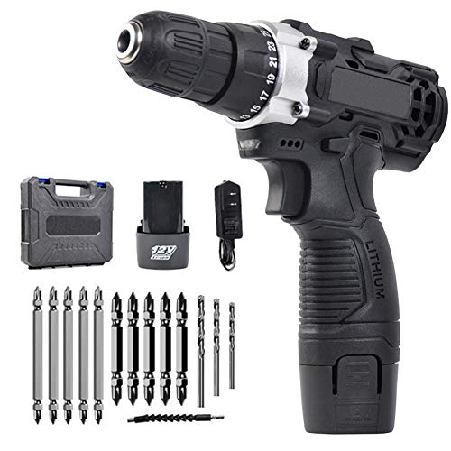 Cordless Drill/Driver Kit, Portable Drill Driver, 12V Compact Power Tools Drill Kit with 14-Piece Accessories, Drilling Diameter 10mm (Double Speed)