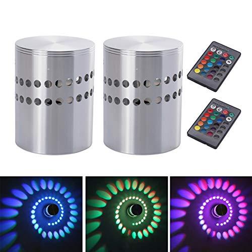 Lamker 2Pcs 3W LED Lámpara de Pared Aluminio RGB Luz de Pared Regulable con Control Remoto LED Apliques para Salón Dormitorio Balcón Moderna Espiral Efecto de Luz