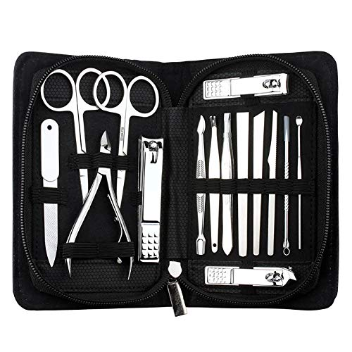 O-Best 15pcs Manicure Pedicure Set Nail Clippers Stainless Steel Toenail Clippers Nail Tools Travel & Grooming Kit with Case