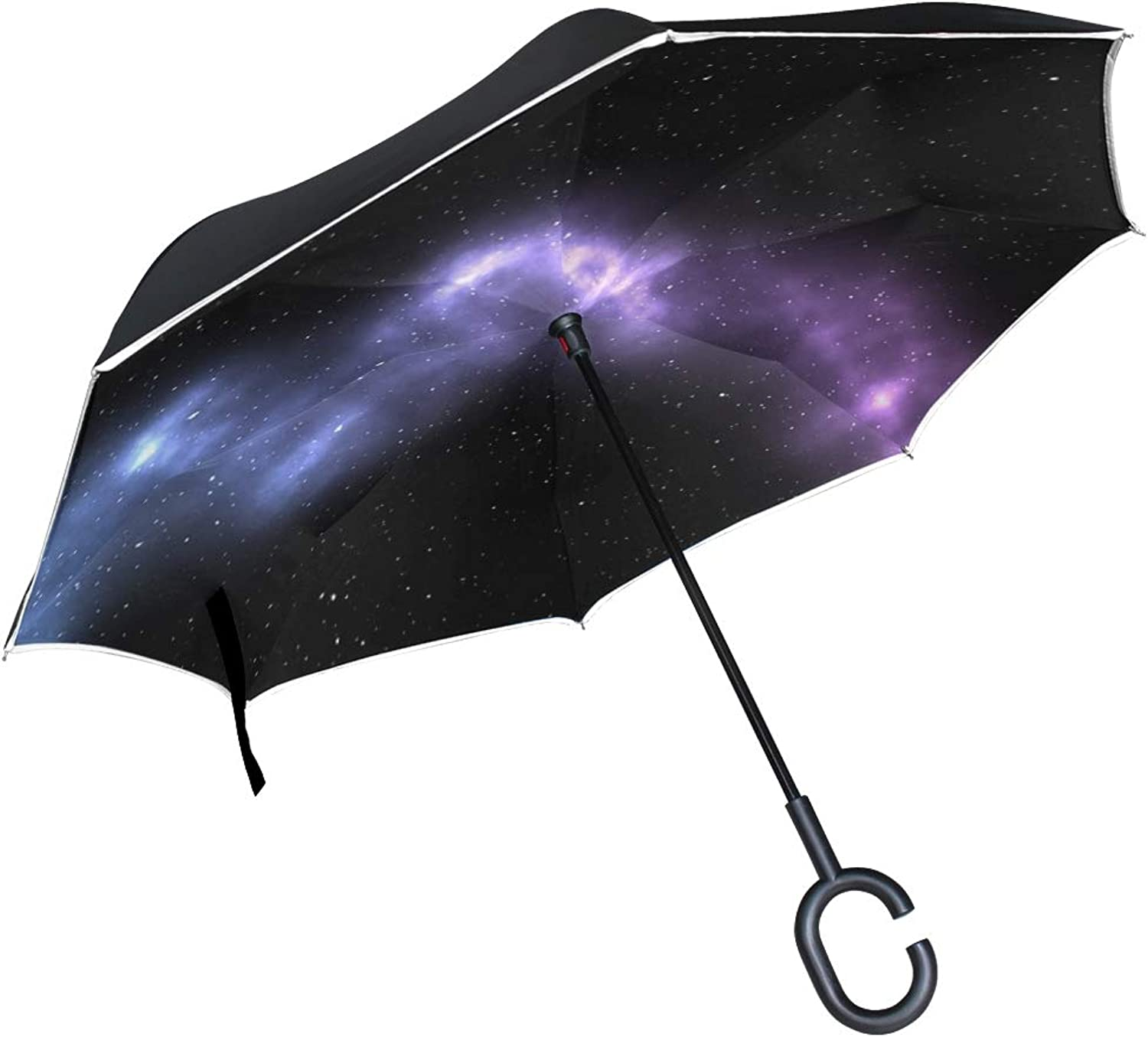 Double Layer Ingreened Abstract Art Artistic Astronomy 2615741 Umbrellas Reverse Folding Umbrella Windproof Uv Predection Big Straight Umbrella for Car Rain Outdoor with CShaped Handle