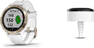Garmin Approach S40, Stylish GPS Golf Smartwatch, Lightweight with Touchscreen Display, White/Light Gold & Approach CT10 -...