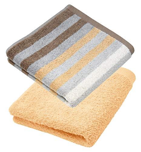 Lashuma - Juego de 2 toallas de rizo (50 x 100 cm, algodón absorbente a rayas), color beige