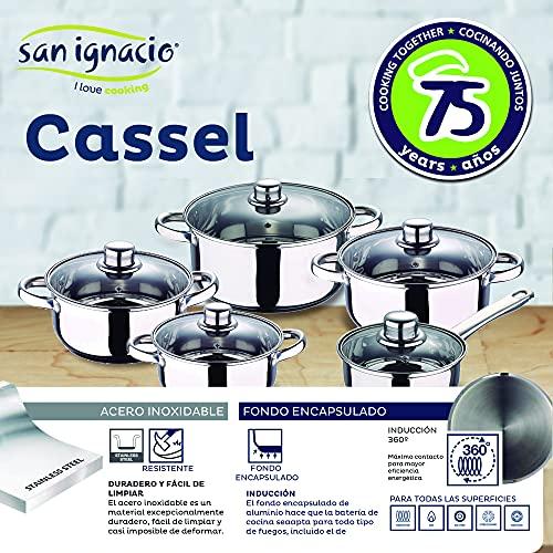 Bateria de cocina 12 piezas SAN IGNACIO Cassel, acero inoxidable, con juego sartenes (20/24/28 cm) sarten wok 28, grill 28x28 cm y cazo 16x7.5 cm