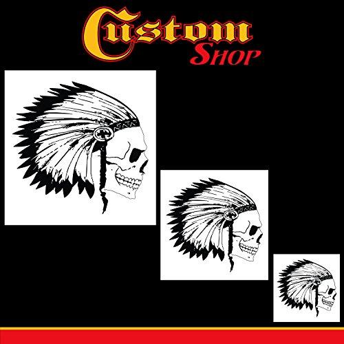 Custom Shop Airbrush Skelett-Schablonen-Set (Totenkopf-Design Nr. 12 in 3 Größen) – Lasergeschnittene wiederverwendbare Vorlagen – Auto Motorrad Grafik Kunst
