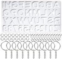 AtoZ シリコン製文字型 文字番号 30個 キーチェーンリング 100個 スクリューアイピン シリコン型 樹脂製 DIY キーチェーン ジュエリー ペンダント