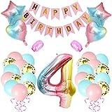 Amycute 4er Cumpleaños Globos, Feliz cumpleaños Decoración Globos 4 Años en Rosado, Número 4 Globos Digitales Gigante del papel de aluminio, Globos de Confeti de Latex para Fiestas Niñas