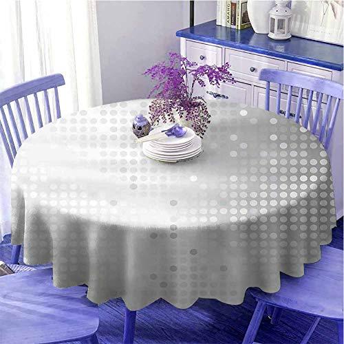 Función de mantel redondo gris arte digital ombre y puntos diseño gráfico moderno textiles para el hogar impresión diseño sin costuras diámetro 47 pulgadas gris plata