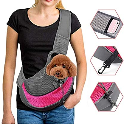 ZHOVAEAL Pet Carrier Dog Cat Hand Free Sling Carrier Outdoor Travel Sling Shoulder Bag for Dogs Cats Walking Subway Daily Use (Fits Small Animals Less Than 9lb Pink) 1