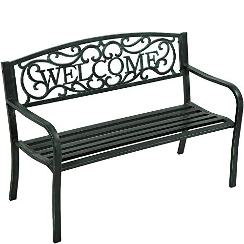 Garden Bench Outdoor Bench for Patio Metal Bench Park Bench Cushion for Yard Porch Work Entryway...