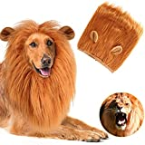 León Melena Peluca Vestidos de Cosplay para Mascotas Pelucas de león Custume Ropa de Gato de Perro Mascota Grande Melena Hair Festival Fiesta Disfraces con Orejas