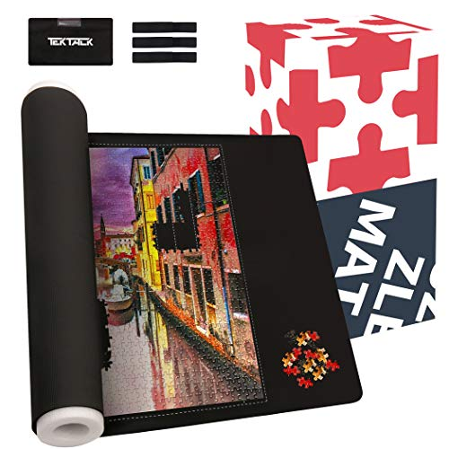 Tektalk Cross Printed Neoprene Puzzle Mat Jigsaw Puzzle Storage Roll Mat with Unique Auxiliary Line Design Nonwoven Storage Bag 3 Elastic Straps PE Foam Rod Up to 1,500 Pieces for Jigsaw Puzzle Player
